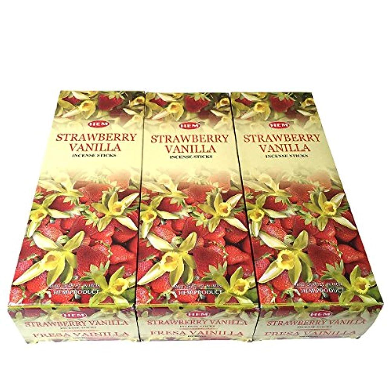 官僚すすり泣き分析的ストロベリーバニラ香スティック 3BOX(18箱) /HEM STRAWBERRY VANILLA/インセンス/インド香 お香 [並行輸入品]