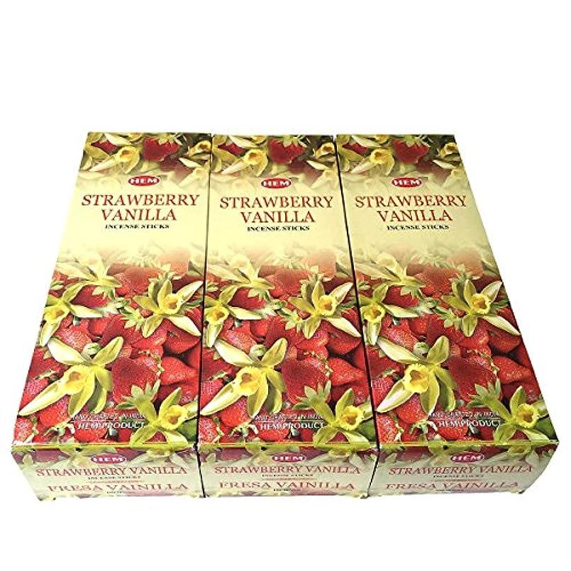 癌バッフルドリンクストロベリーバニラ香スティック 3BOX(18箱) /HEM STRAWBERRY VANILLA/インセンス/インド香 お香 [並行輸入品]