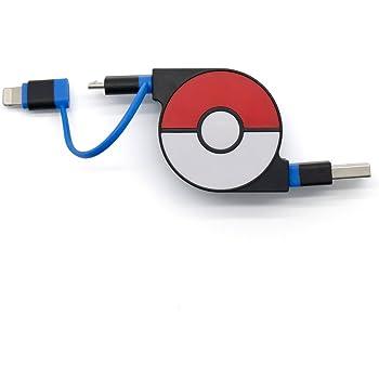 cheero 2in1 Retractable USB Cable with Lightning & micro USB Pokemon version (Blue) MFi取得 巻き取り式 充電ケーブル 急速充電 データ転送 ライトニング マイクロUSB 70cm