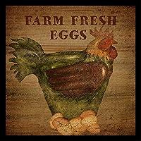 FramedファームFresh Eggs by Beth Albert 12x 12アートプリントポスターファームヴィンテージ広告Made in the USA 。