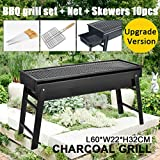 Foldable BBQ Charcoal Grill Grate Portable Outdoor Barbecue Camping Large Tray Rotisserie Set Stainless Steel Hibachi Net