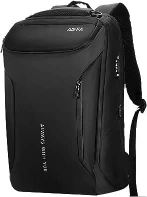 AISFA リュック メンズ リュックサック バックパック 防水レバー付き 17インチ PC ビジネスリュック ラップトップバック 大容量 bag USB充電機能付き30L アウトドア旅行防水 通勤 修学 学生 バッグ 男女兼用多機能通気性 A4収納多ポケット