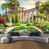 Xueshao カスタム3D壁画壁紙ヨーロッパローマのコラムガーデン風景フレスコ画リビングルームのソファ寝室の背景3D壁画-280X200Cm