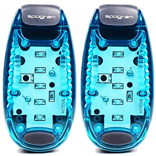 Spogram LED ランニング ライト 5個LED搭載 クリップ 型 夜ラン 自転車 散歩 高速 点滅 反射 電池付 (青2個セット)