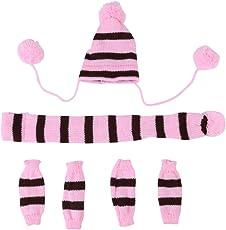 6個/セット秋冬犬のペット帽子&スカーフ&レッグウォーマーかわいい衣装(ピンク M)