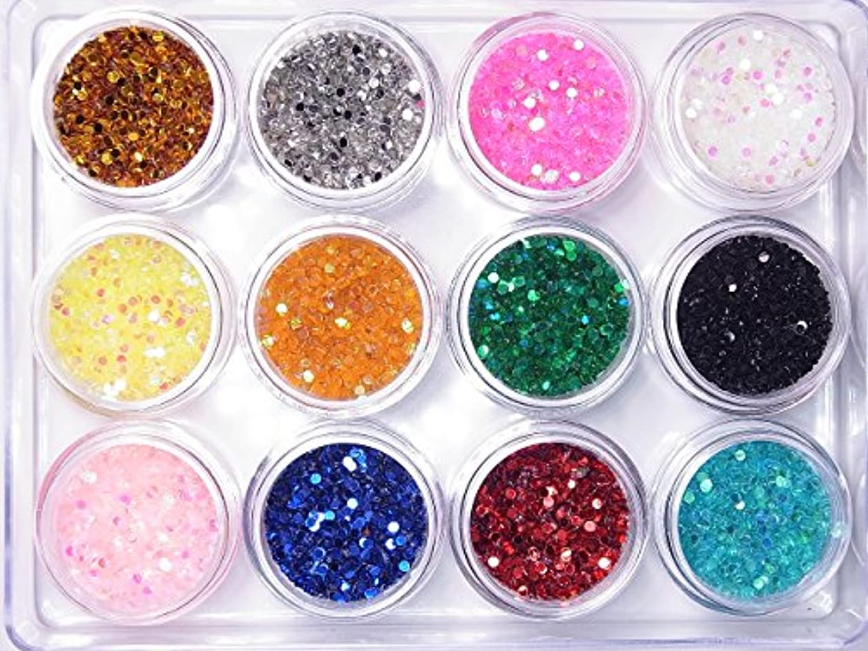 争うバルク可塑性【jewel】丸ホログラム1.5mm 各色たっぷり2g入り 12色SET ジェルネイル デコ