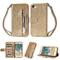 Happon の iPhone 6 iPhone 6s 4.7 inch 純正 レザー 財布 シェル カバー, フリップ 立つ, カード スロット, スタイリッシュ, Golden