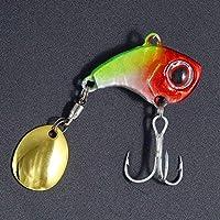 WangNuangJun-Fishing, スプーン釣りルアー9グラム、22グラム冬のアイスルアー釣りでスパンコール新しいメタルミニVIBを回転させることでバイオニック・ベイト振動スピナータックル (色 : Red head green body, サイズ : 22g)