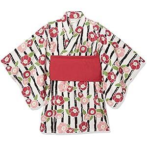 [タキヒヨー] ストライプ花柄浴衣風ワンピース ガールズ 342447210 クロ 日本 90 (日本サイズ90 相当)