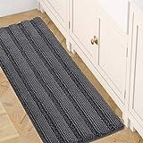 H.VERSAILTEX 47x17 Inch Large Luxury Grey Striped Bath Mat Soft Shaggy Bathroom Rugs Non-Slip Kitchen Rugs Microfiber Washabl