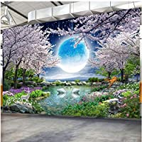 Xbwy カスタム防水壁画壁紙3Dムーン桜の木白鳥風景フレスコ画リビングルームリムーバブルステッカー-250X175Cm