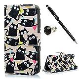 【Badalink】Samsung Galaxy S6edgeケース 猫柄のカバー スタンド機能付 財布型プロテクター 黒い猫