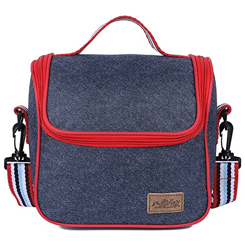 EGOGO Lunch Bag Oxford Lunch Kit Box Insulated Cool Tote Bag Reusable Zip Closure Handbag for Men and Women E524-3