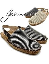 スペイン製エスパドリーユシューズ gaimo/ガイモ Pacific ストラップサンダル ブラック/ベージュ/エスパドリュー/本革/短靴/メンズ/男性用/ラッピング対応