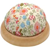 joyMerit ピンクッション 針山 針刺し 花柄 木製ベース 手縫い 縫工 必要品 全4選択 - タイプ2