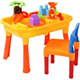 Keezi Kids Outdoor Sand and Water Toddler Children Table & Chair Sandpit Toy Set