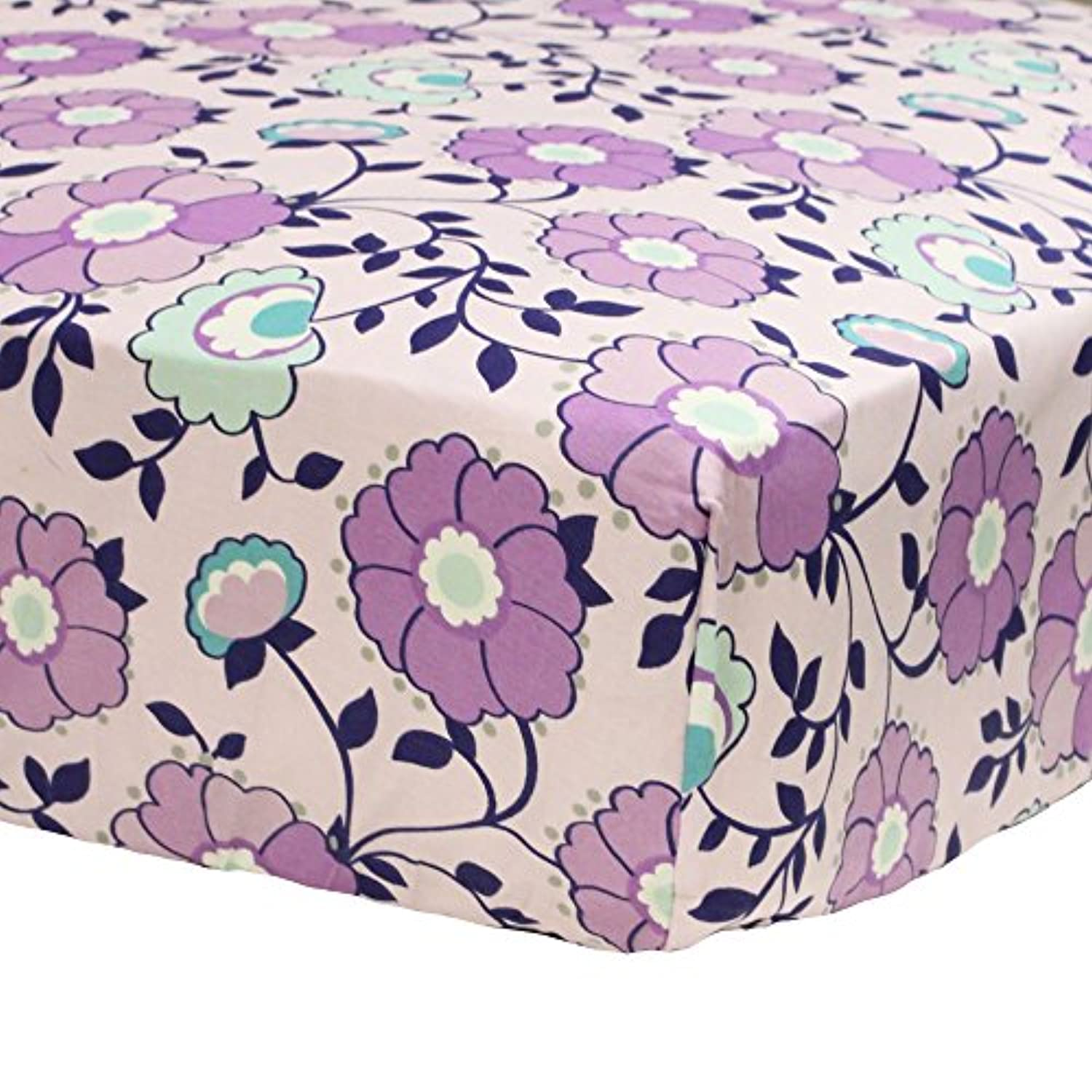 Zoe Purple Floral Print Fitted Crib Sheet by The Peanut Shell by The Peanut Shell