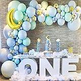 LDFWAYAU Balloon Garland Arch Kit - Gold Moon Stars Foil Balloons Blue Latex Balloons for Wedding Birthday Graduation Anniver