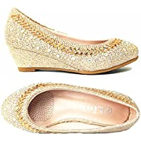 Forever Link Girls Kids Closed Round Toe Glitter Rhinestone Low Wedge Heel Slip On Dress Party Pump Shoes