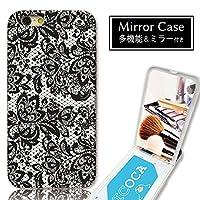 301-sanmaruichi- iPhoneXS Max ケース ミラーケース 鏡付き ミラー付き カード収納 おしゃれ レース 英語 ロゴ ガーリー B