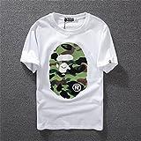 A BATHING APE(アベイシングエイプ) 半袖 猿人頭 BAPE Tシャツ 迷彩 T-SHIRT カモフラージュ柄 (L, ホワイト)