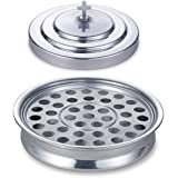 """Stackable 12 1/4"""" Communion Tray & Cover and 40 Hole Insert for Cups - Silver Tone Aluminum"""