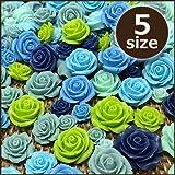 デコパーツ/リアル薔薇アソート・福袋「ブルー色&グリーン色」5個入り(ネイビー、スモーキーブルー、ブルー、ライトグリーン、シャーベットグリーン、バラ、プラパーツ、お花パーツ、3Dパーツ) [並行輸入品]