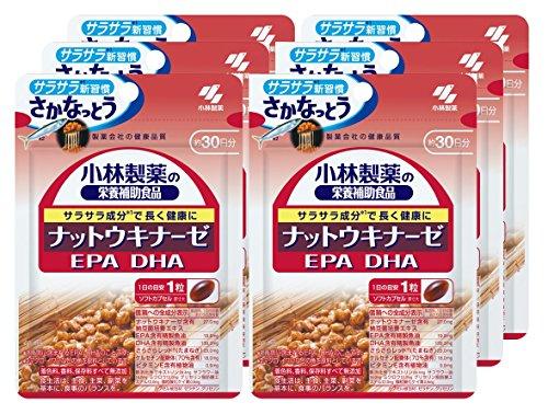 小林製薬の栄養補助食品 ナットウキナーゼ EPA DHA 約30日分 30粒×6...