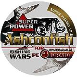 Ashconfish PEライン 4編 釣り糸 (0.4号 0.6号 0.8号 1号 1.2号 1.5号 2号 2.5号 3号 3.5号 4号 5号 6号 7号 8号 9号 10号) (150m 200m 300m 500m 1000m) X4 超強