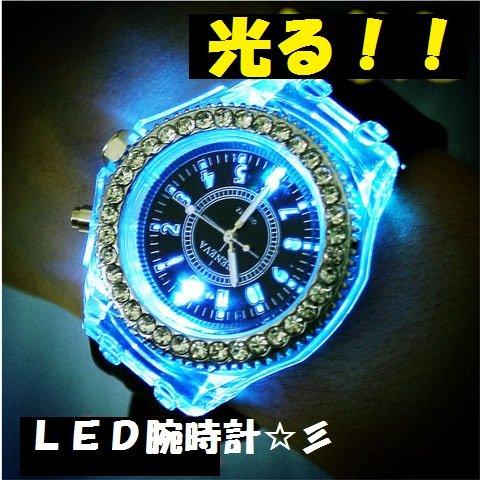 『Geneva レインボーLED腕時計 ブラック』の1枚目の画像