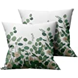 Pack of 2 Soft Plush Short Pillows Decorative Super Soft Short Plush Throw Pillow Covers 18x18 Inch , Vintage Green Leaf Prin