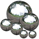 zosenda Stainless Steel Gazing Ball, 6 Pcs 50-150 mm Mirror Polished Hollow Ball Reflective Garden Sphere, Floating Pond Ball