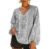 NMQLX Women's Sweatshirt V-Neck Retro Long Lantern Sleeve T-Shirts Vintage Loose Tops Tees