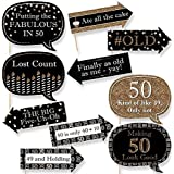 Funny Adult 50th Birthday - Gold - Birthday Party Photo Booth Props Kit - 10 Count [並行輸入品]