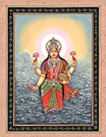 Goddess Lakshmi with Wealth Pot Rising from Ocean - Water Color Painting on Paper - Artist:Kailash R