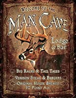 Welcome to the Man Cave Lodge &バーTin Sign 16 x 13 in