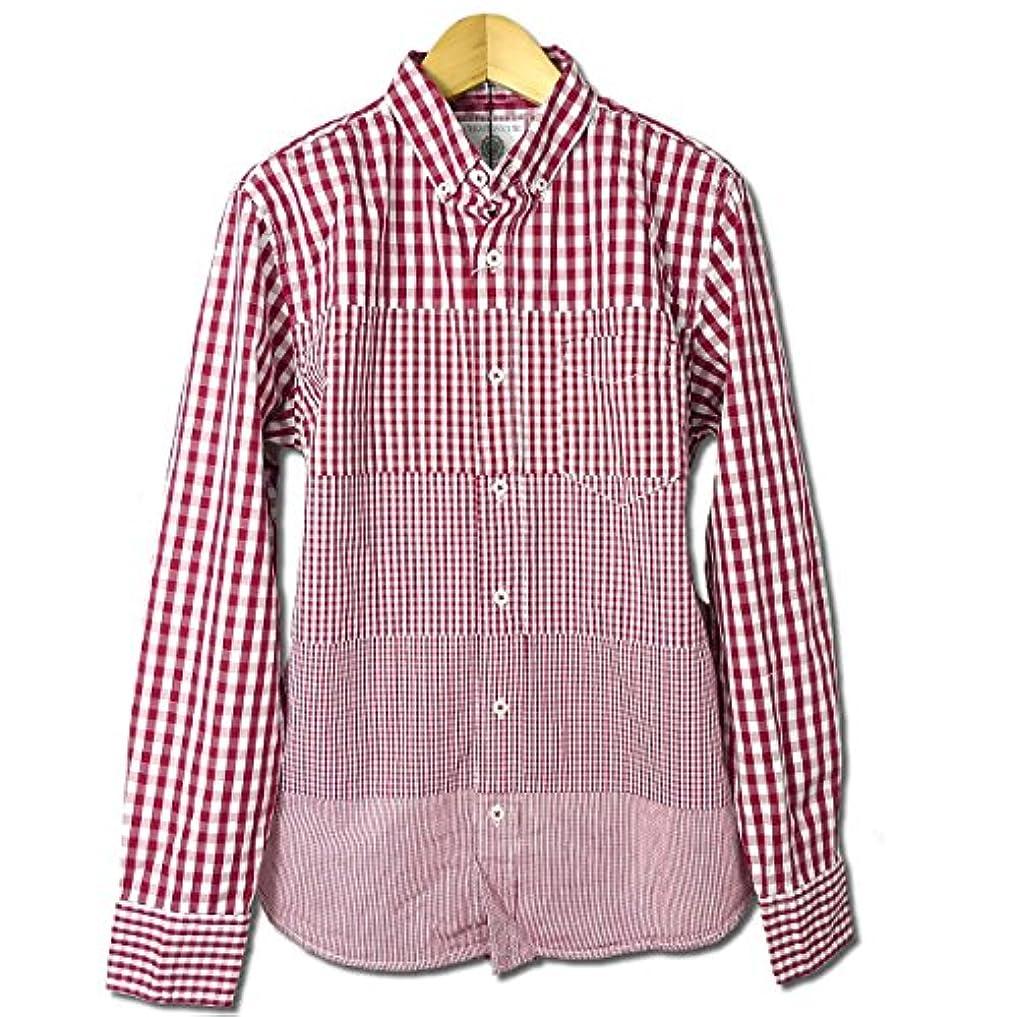 人工足洗練グラデーション ギンガムチェック ボタンダウン 長袖シャツ メンズ アメカジ レッド 綿シャツ M L LL(XL)