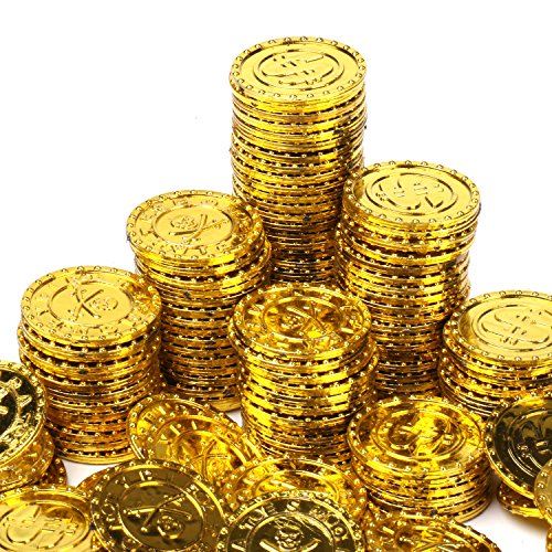 DOORS 海賊 の お宝発見 おもちゃ の コイン セット 金貨 銀貨 銅貨 宝箱 小道具 ゲーム コスプレ に (金貨 100枚)