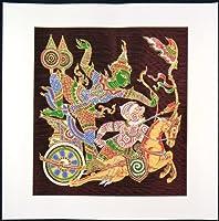 タイ民族絵画 布絵 シルク茶色地 シルク絵画