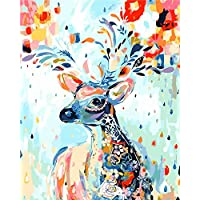 (Framed) - [Wooden Framed]Diy Oil Painting, Paint By Number Kits Home Decor Wall Pic Value Gift-Painted Deer 41cm X 50cm