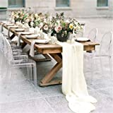 QueenDream Ivory Chiffon Table Runner 10ft Sheer Table Runners for Wedding Decor Rustic Boho Party Table Reception Decoration