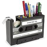 カセットテープディスペンサー ペンホルダー 花瓶 鉛筆ポット 文房具 デスク整理容器 オフィス 文房具 サプライヤー ギフト (ブラック)