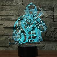 3d Fireman夜間ライトタッチテーブルデスクOptical Illusionランプ7色変更ライトホーム装飾クリスマス誕生日ギフト