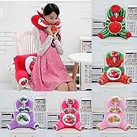 ZHENWOFAI ぬいぐるみスクワッシュ3Dフルーツ印刷Uシェイプネックピローウエストバッククッションソファベッドオフィスの車椅子の装飾 枕 (Color : Peach Neck Pillow+Back Cushion)
