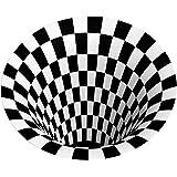 3D Area Rug Floor Mat Illusion Non Slip Area Rug, 3D Visual Vortex Optical Illusions Floor Rug,Black White Plaid Round Rugs f