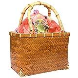 (キョウエツ) KYOETSU かわいい竹かご巾着バッグ 浴衣 和柄 レトロ kg-04 (かご-茶×ピンク系)