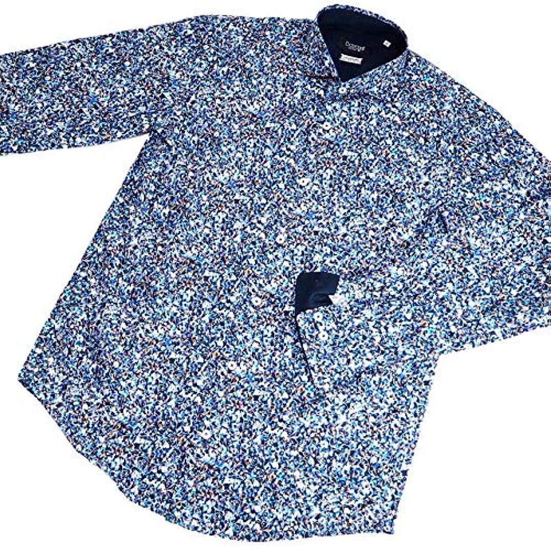 未満勝者成人期40617 秋冬 日本製 イタリア製生地使用 ワイドカラーシャツ 長袖 総柄 ブルー(青) サイズ 48(L) barassi MILANO バラシ ミラノ 紳士服 メンズ 男性用