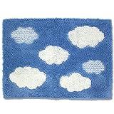 オカ バスマット 乾度良好 クラウド 約45×60cm ブルー 吸水 抗菌 防臭