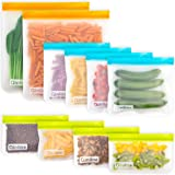 Reusable Storage Bags - 10 Pack BPA FREE Freezer Bags(2 Reusable Gallon Bags + 4 Leakproof Reusable Sandwich Bags + 4 THICK R