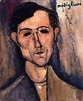 手描き-キャンバスの油絵 - man s head portrait of a poet Amedeo Modigliani 芸術 作品 洋画 ウォールアートデコレーション -サイズ16